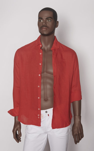 Camisa lino coral open