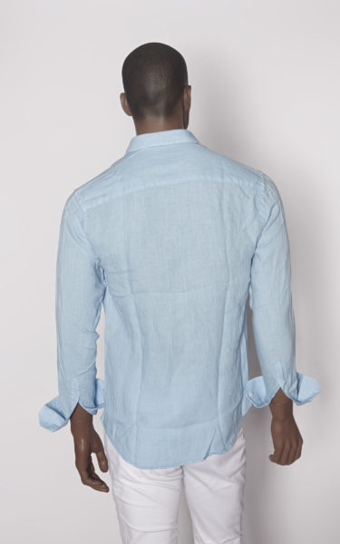 camisa lino blue sky back
